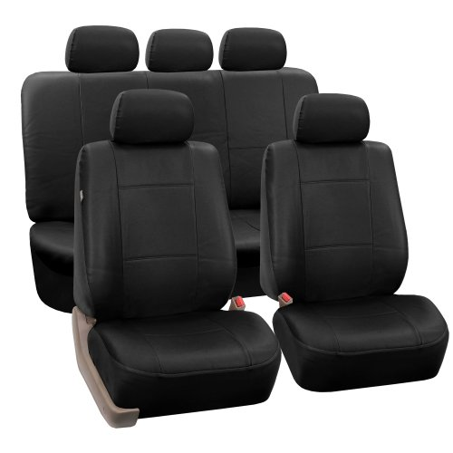 FH Group Black PU002BLACK115 Faux Leather Seat Covers