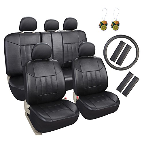 Leader Accessories Faux Leather Black Seat Protectors